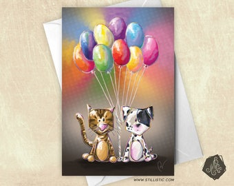 Puppy and kitten balloons greeting card