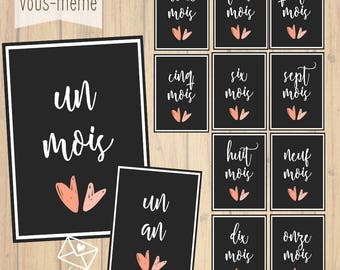 Set of 12 cards month by month, steps baby {to print yourself}