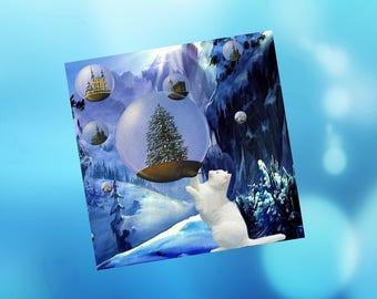 Cat greeting card: pretty bubbles!