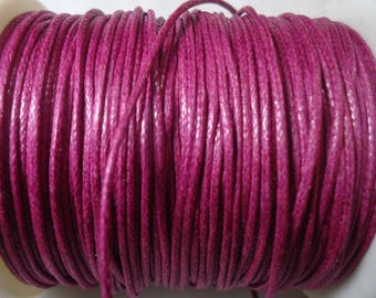 5 m of raspberry pink waxed cotton cord 1 mm in diameter