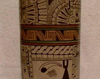 Handcrafted Mayan Hieroglyphic Cylinder Vase