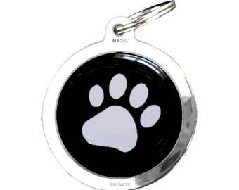 Medal dog paw print - chrome