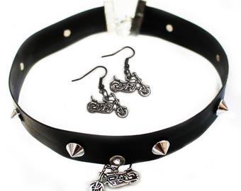 Cruiser Girl Biker Chick Black Choker & Earrings Set