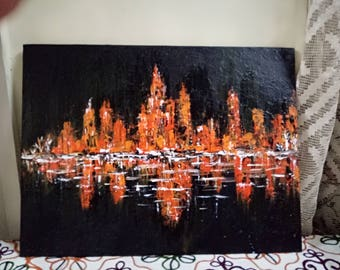 Textured city scape painting