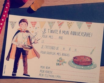 """8 invitation cards """"magician"""" with envelopes in a boy's birthday"""