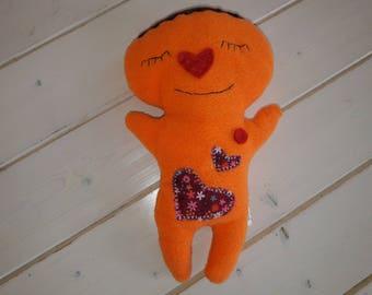 Orange small snowman fleece blanket.