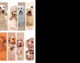 Bookmarks of collection, theme dogs series 2, by the artist Martin deMEZERAC