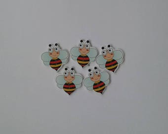 5 wooden bee buttons with blue wings -  sewing, knitting, crochet, card making, papercrafting, scrapbooking - bee, insects,  cute, funny