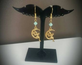 Golden green fairy earrings