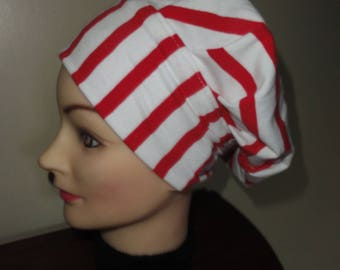 TURBAN JERSEY STRIPED red and white hat