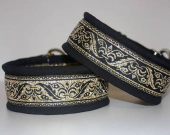 "Dog Collar Jacquard Ribbon Elegant ""Black and Gold""  Design"