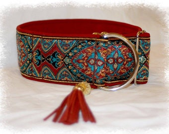 Dog collar Jacquard ribbon with unique colourful ornaments, Elegant design for Pet accessories, Fashion for dogs