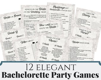 12 Winter Floral Bachelorette Party Games, Printable Winter Bachelorette Party Game, Winter Bridal Shower Game, Hens Night Game