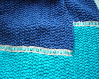 Scarf in acrylic yarn in Royal Blue and teal long