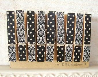 9 MINI clothespins decorated linen (No.45) black