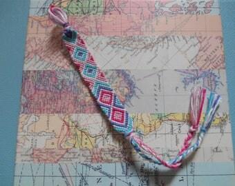 Pink & Turquoise Woven Macrame Friendship Bracelet