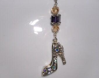 Silver High Heel Shoe Rear View Mirror Charm