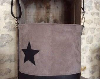 Taupe suede leather shoulder bag