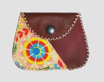 Burgundy leather wallet from genuine cowhide