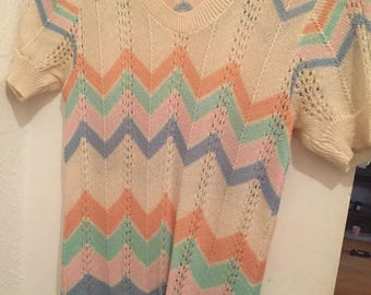1970s Chevron Sweater, Zig Zag Sweater, 1970s Pointelle Sweater
