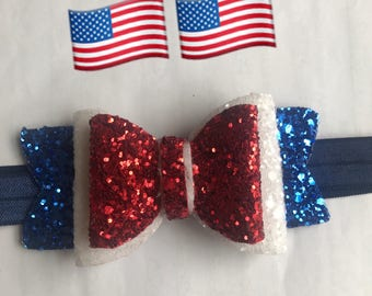 4 july usa independence style glitter bow