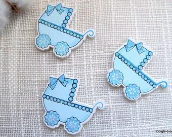 Lot de 5 petits landaux en bois peint bleu