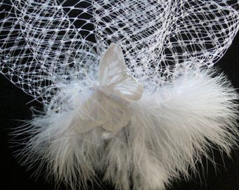 Wedding Veil, French Netting, Fascinator with feathers and butterfly
