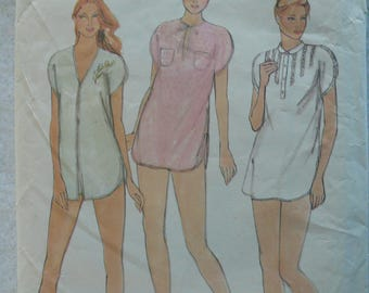 Women's Pattern for Nightshirt and Shorts, Baby Dolls, Vintage Butterick 3709, Size Medium