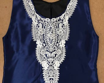 Navy blue embroided applique blouse