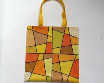 Embroidered yellow stained glass cross stitch tote bag