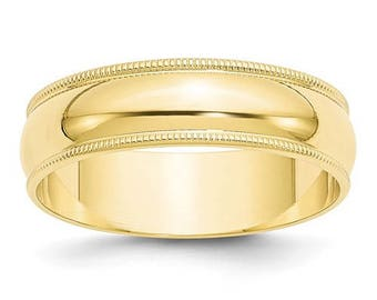 New Solid 10k Yellow Gold Milgrain 6mm Wedding Band Sizes from 4 - 14. Solid Stamped 10k Yellow Gold, Made in the U.S.A.