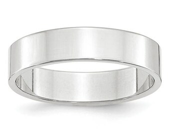 New 14K Solid White Gold 5mm Flat Men's and Women's Wedding Band Ring Sizes 4-14 High Polished Stackable Thumb/ Knuckle Rings