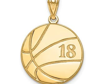 "Personalized Gold Plated over Sterling Silver Free Name And Number Laser-Engraved Basketball Pendant Charm 1"" x 1"" Free 16,18, or 20"""