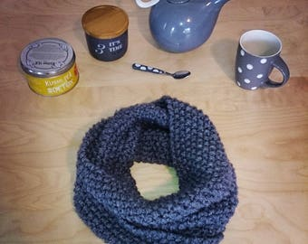 Hand knitted adult gray collar