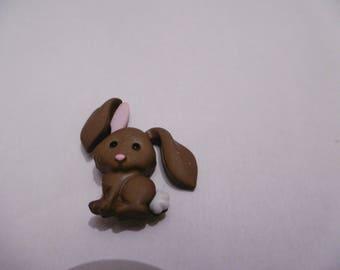 button decorative Brown rabbit