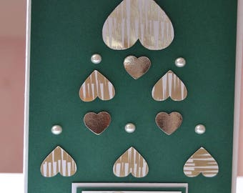 Merry Christmas beads and hearts greeting card