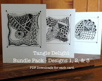 TangleDelight Discount Bundle Cards #1, 2 & 3 - Instant Download PDF, For all Occasions. DYI-Make your own card, Greeting Card, Fum to make!