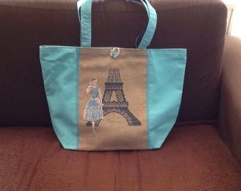Handmade tote bag, blue canvas