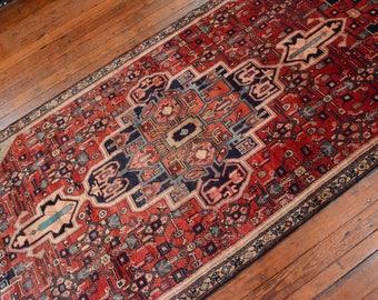 Vintage Persian Hamadan Rug, 4u0027x10u0027, Red/Beige, All Wool