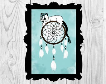 Art Print Dreamcatcher Cat Didital Instand Download