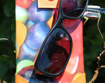 Case sunglasses waxed canvas and faux leather, double - handmade