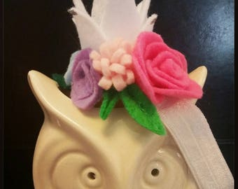 Felt flower with crown