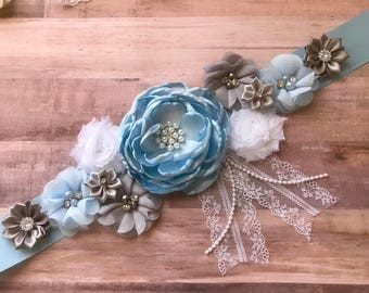 Baby Blue Silver Gray Maternity Sash, Dad to be pin, Baby Blue Pregnancy Sash Belly Belt Photo Prop Gift Keepsake Baby Shower