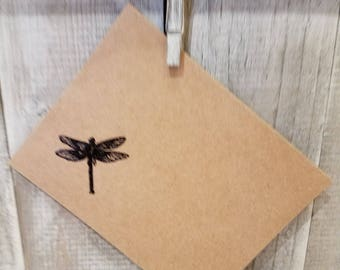Embossed dragonfly set of gift bag, envelope, and gift tag