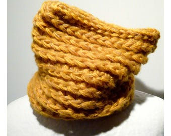 Reversible BEANIE wool Heather SAFFRON