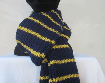 Dark blue and Tan striped unisex scarf