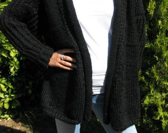 Black hand knitted women's jacket size 38-40