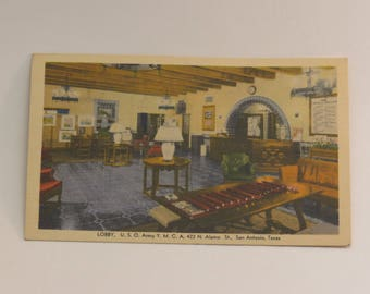 "Early 1940s San Antonio  Postcard  - U.S.O. YMCA  - ""Lobby"""