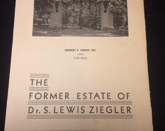 The former Estate of Dr. S Lewis Ziegler - historic real estate brochure 1930s Philadelphia (Haverford)