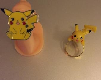 Handmade Adjustable Pikachu Ring Set